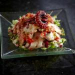 Marinated octopus in champagne vinegar mixed with sweet peppers