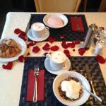 Rose petaled breakfast on our anniversary