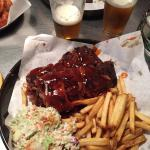 Ribs, fries and coleslaw.