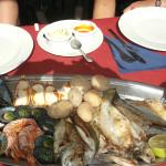 Platter with seafood and fish
