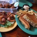 Hushpuppies, bacon wrapped shrimp and amazing crab melt!