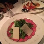 Beef carpaccio and caprese salad. Mmmm