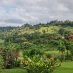 Vue magnifique sur le jardin et le lac Arenal