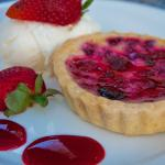 Raspberry Brulee Tarlet with vanilla ice-cream
