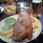 Delicious Birthday Fish,Chips & Mushy Peas.