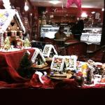 Beautiful gingerbread village window display for the holidays.