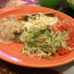 Plate two of the combo I had. Taco, tex-mex, and there was a tostada with refried beans under th