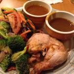 half dark chicken dinner (no skin) with salad, steamed veg, gravy and dipping sauce