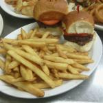 Delicious slider burgers and fries at Mr Pibs!