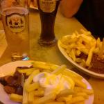 Beer, fries and currywurst