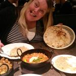 My barmpot girlfriend posing with the dinner!