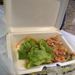 $7.00 for this little salad with ground Chicken.  Rip off. The ground chicken tasted like it wa