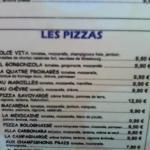 La carte des pizzas