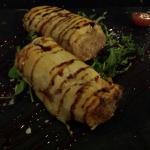 Canalón en pasta philo de magret de pato y foia. Realmente delicioso