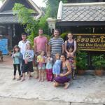 Group photo with Mr Soulinda out the front of the guesthouse