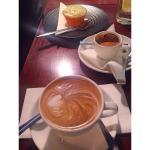 Flat white, espresso & a devine cup cake.
