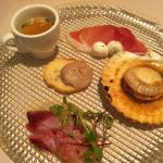 Appetizer with Scallop, Sashimi and Ham & Cheese