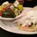 Lamb souvlaki with greek salad or fries.