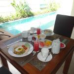 Breakfast cooked in our villa each morning