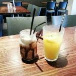 Iced chocolate and OJ.