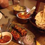 Tikka kebab, vegetable pilau with chicken curry and naan selection!