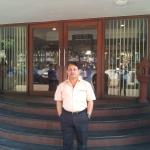 Yours truly in front of main entrance to hotel