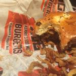What was left of a delicious BBQ Bacon cheeseburger with onion strings. Cooked perfectly
