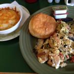 Scramble with shrimp, goat cheese & portobello mushrooms. Side of cheese grits & biscuit