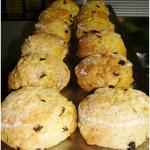 Homemade fresh Fruit Scones are waiting for hungry customers.