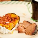 Stuffed Baked Potato with Sliced Brisket-