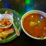 Tortilla soup with Tortilla strips and pico de gallo
