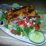 Mahi blackened on salad
