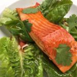 Salmon on Pad Thai noodles