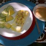 Part II of one of my breakfasts - tortilla, bread, greens