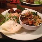 roast duck curry combo (rice, crackers, salad, sweetcorn cakes)