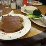 Large portion of meatloaf