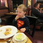 Enjoying his meal