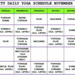 November 2014 Yoga Schedule