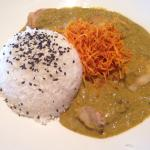 surendra's curry with tilapia fish - a rich, spicy green curry