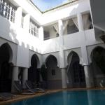 Riad Shemsi pool in ground floor reception area