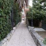 walkway alongside bungalows