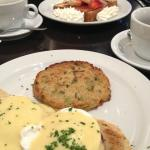 Eggs Benedict and french toast in the background.