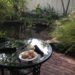 Breakfast by the koi pond