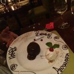 Dessert con scritta augurale
