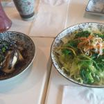 Agedashi tofu and seaweed salad