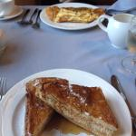 Breakfast (french toast, omelette in background)