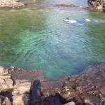 2 natural rock pools where you can swim.