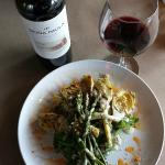 Grilled artichoke and asparagus and Malbec