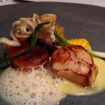 scallops with pork crackles
