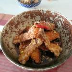 Fried salmon with rice vinegar sauce